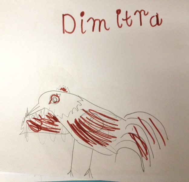 Dimitra - 2 chickens or chicken eating