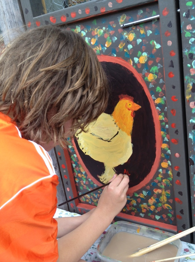 Day Two - I held the chicken while each boy painted its portrait!