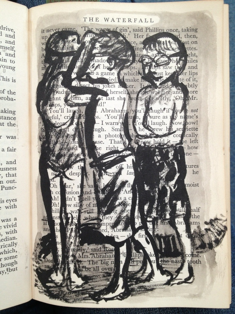 drybrush sketches in the bombing zone of the local swimming pool. Ink on vintage book page.