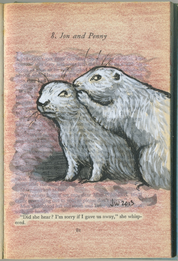 'Jon and Penny' - fineliner, indian ink, gouache and pencil on vintage book page