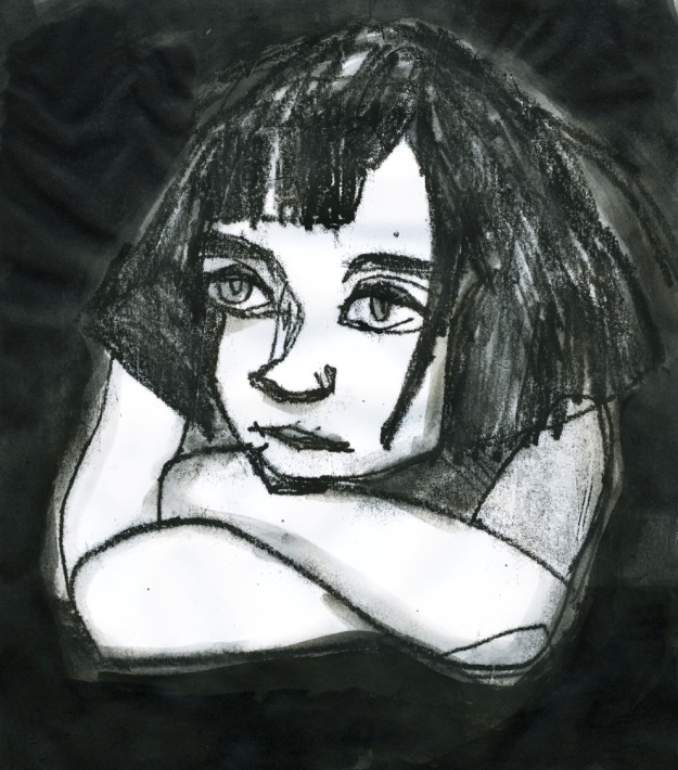 little dark girl monotype lores