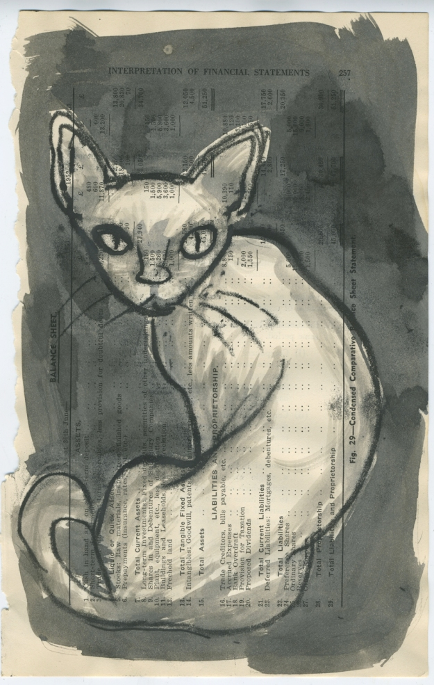 monotype altered book cat lores