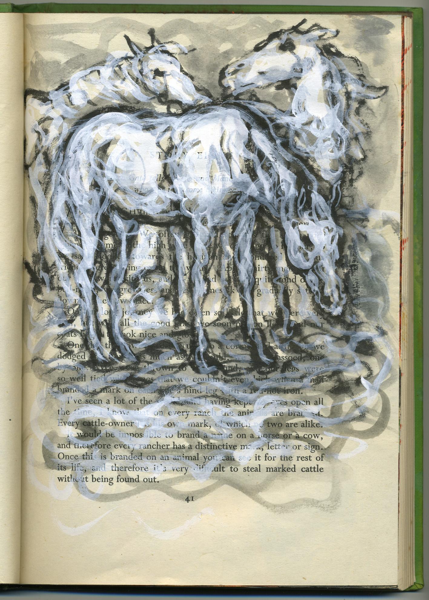 snowy squiggle horses
