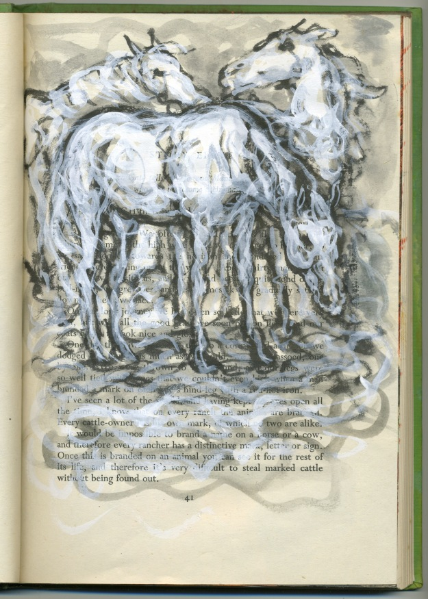 snowy squiggle horses