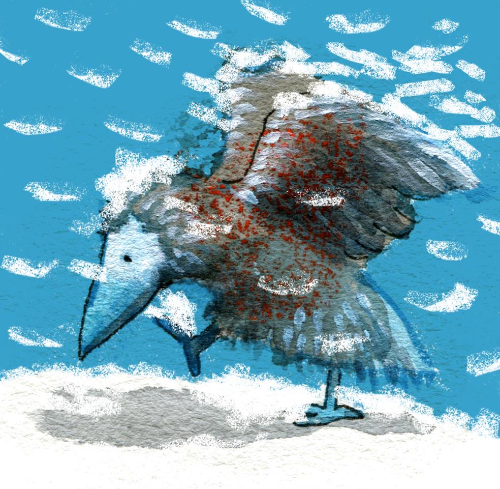 blue bird plays in the snow judywatsonart lores