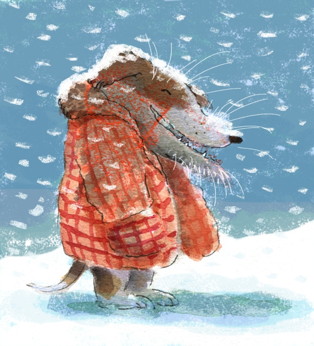 Old dog in the snow judywatsonart lores