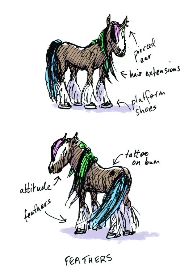Teen Pony feathers judywatsonart lores