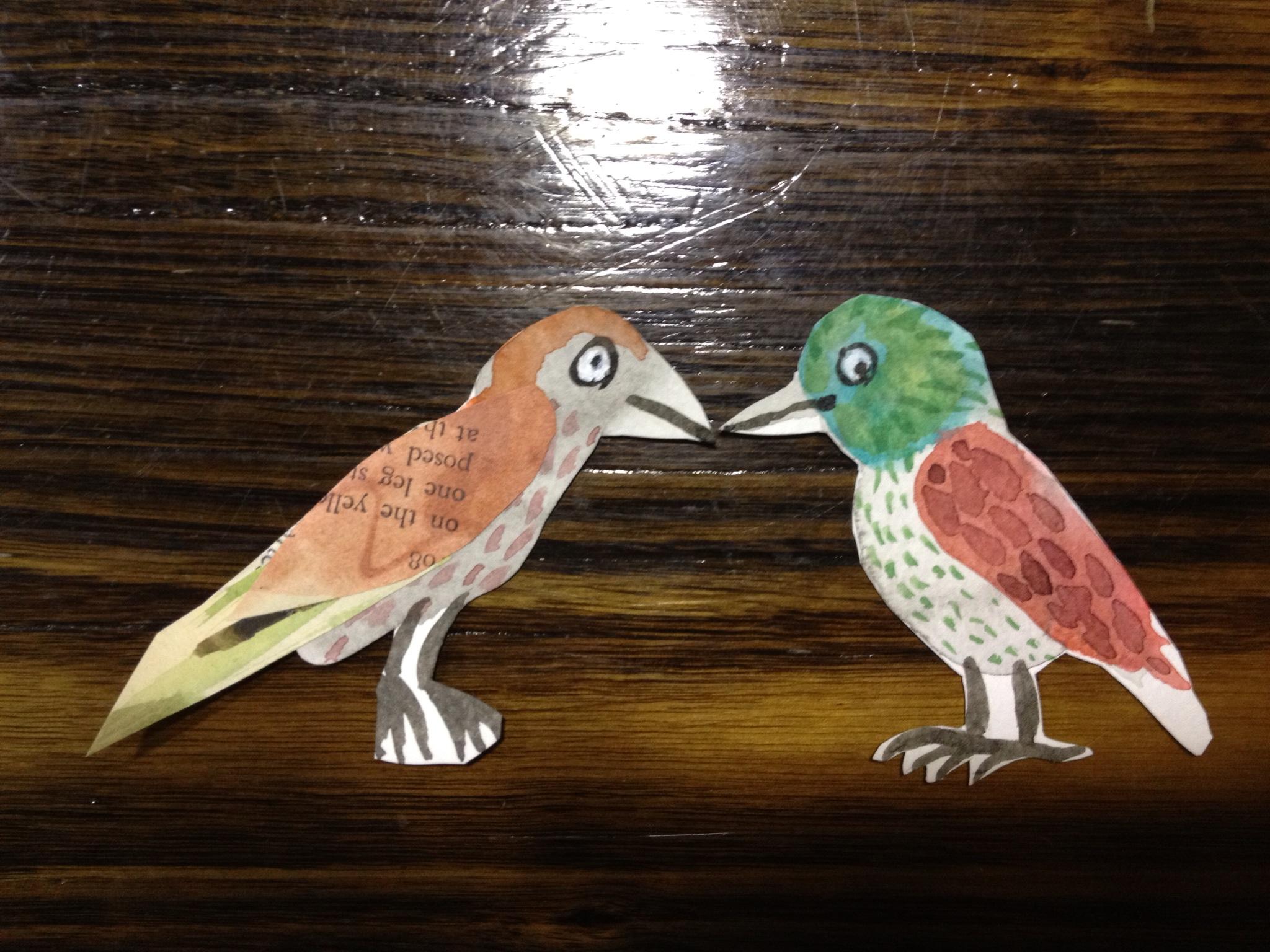 collage doodle birds
