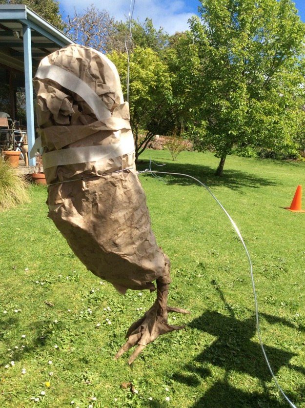 Mr Owl hanging from the clothes line, with some serious surgery about to begin. Some wire (which I could not get to go through his paper middle - not surprisingly) is tied around him to form the basis of his wings.