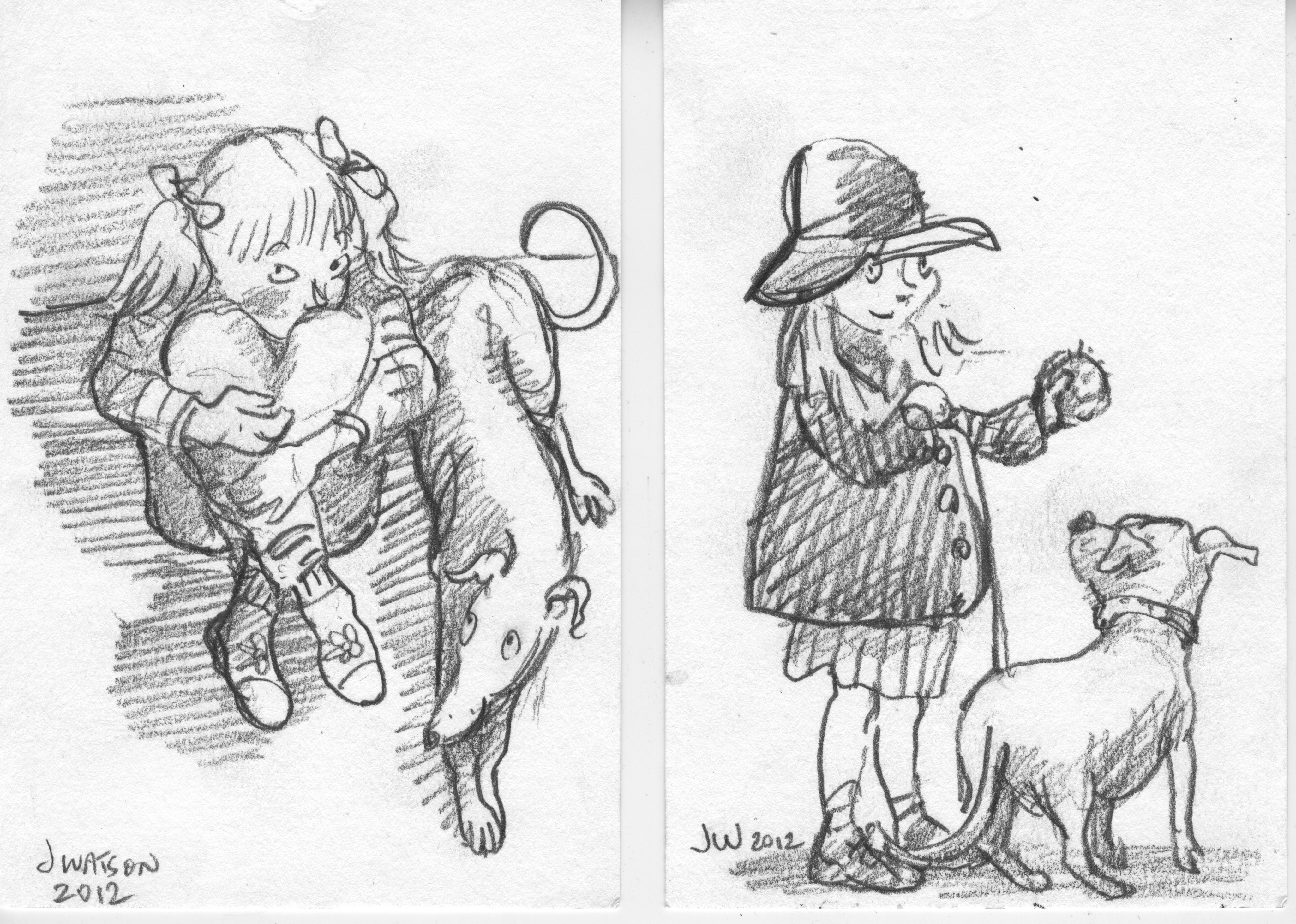 pencil sketches kids with dogs