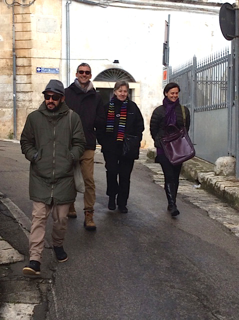 Unexpected sunshine in Bologna was followed with unexpected cold in souther Italy. Francesco, David, Ann and me.