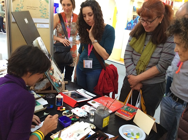 drawing and signing at Bologna Children's Book Fair