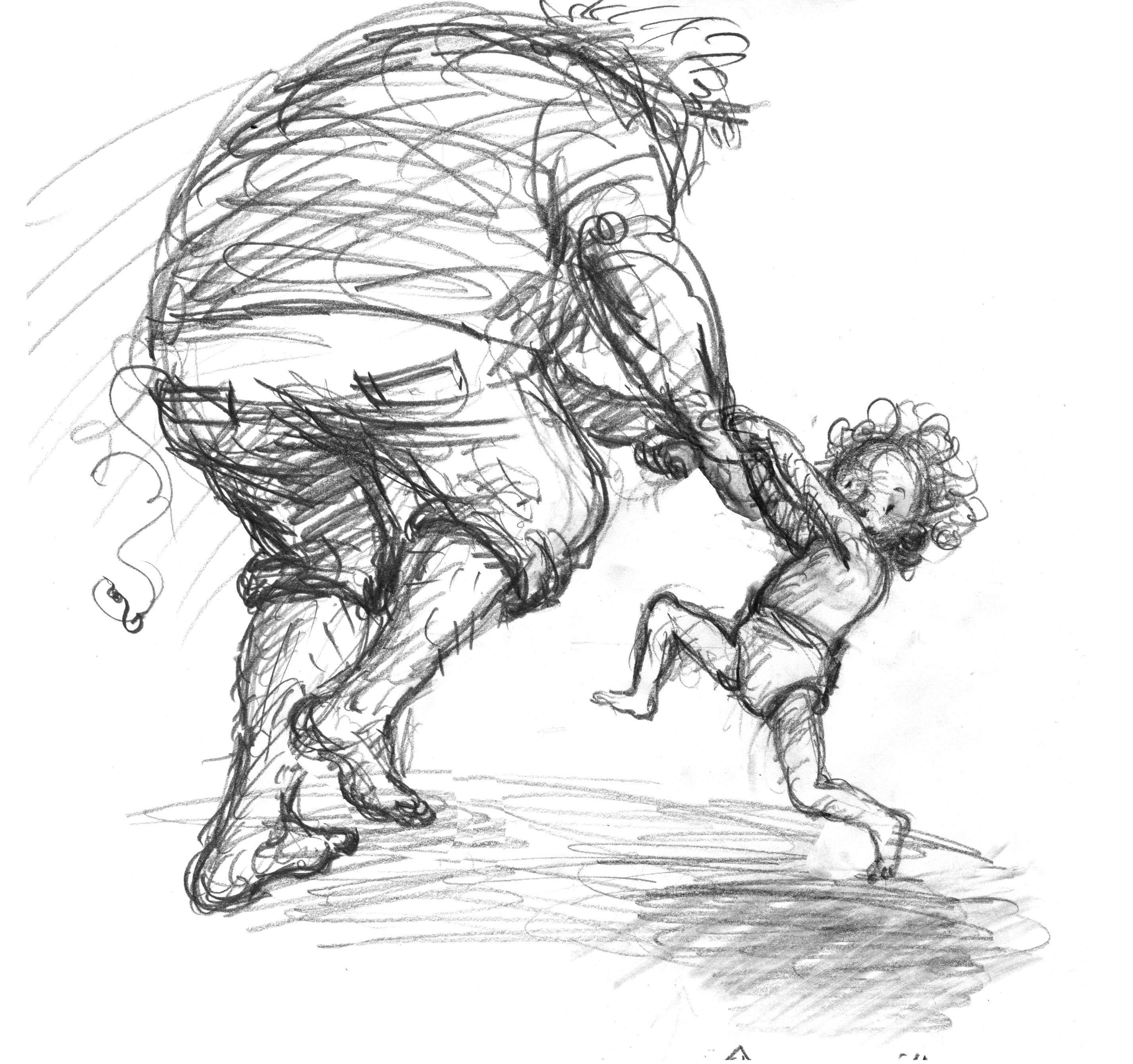 Sketch for dancing scene with Poppy, from Thunderstorm Dancing by Katrina Germein