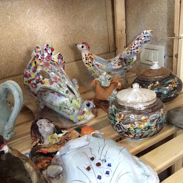 spotty ceramic birds