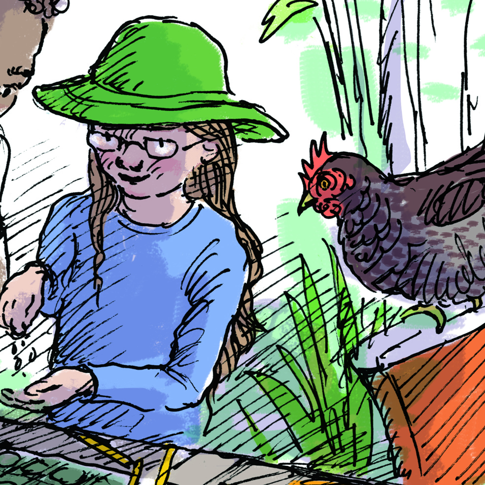 Geeky little girl enjoys science with chicken friend