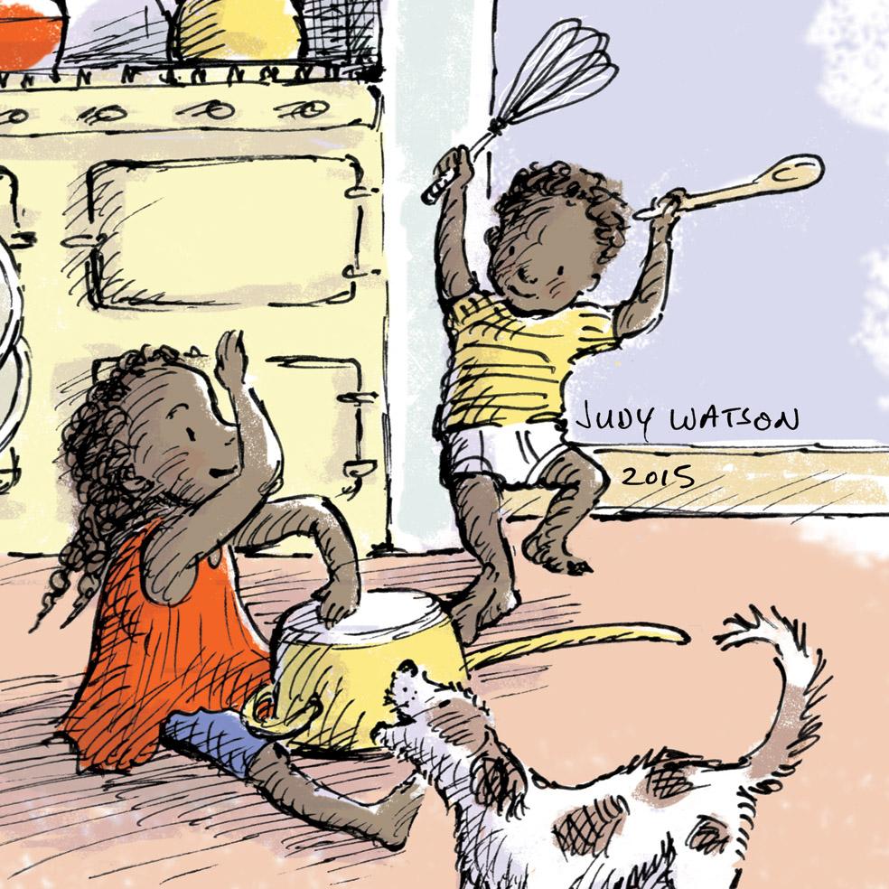 kids play music JudyWatsonArt