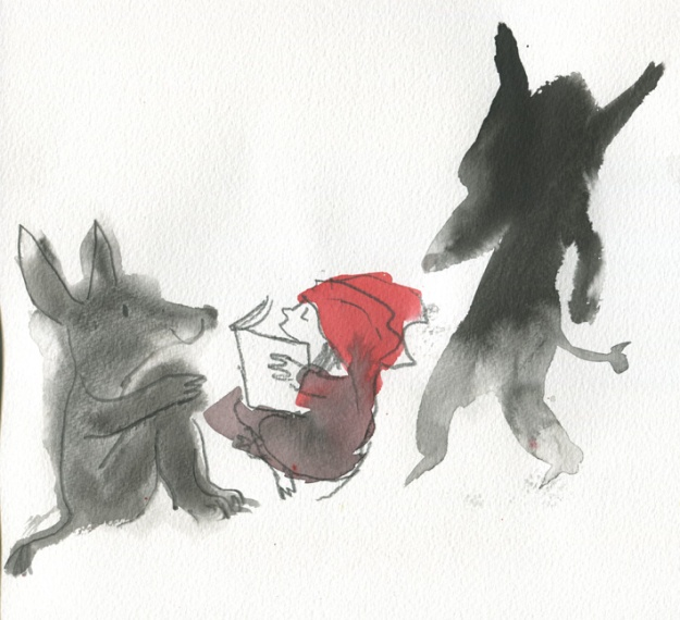 Ann James' Red Riding Hood and friend wolf (with mysterious dark figure looming behind!)