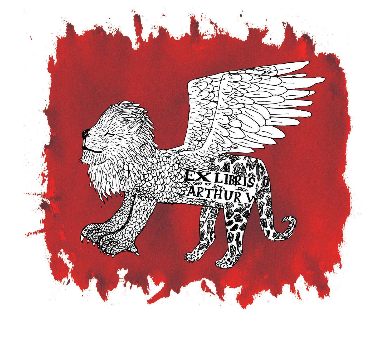 Arthur's heraldic beast bookplate