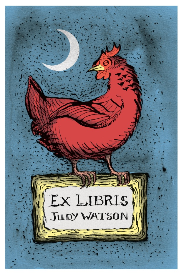 Bookplate judywatsonart tonal chookie