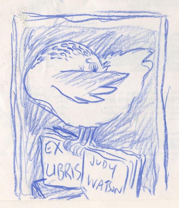 bookplate prelimiinary doodle judywatsonart