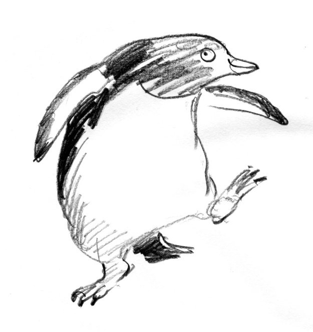 penguin pencil sketch