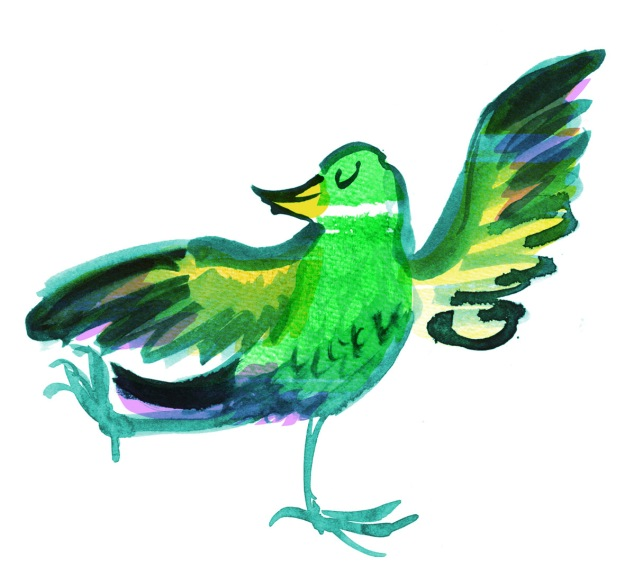 brushy green bird