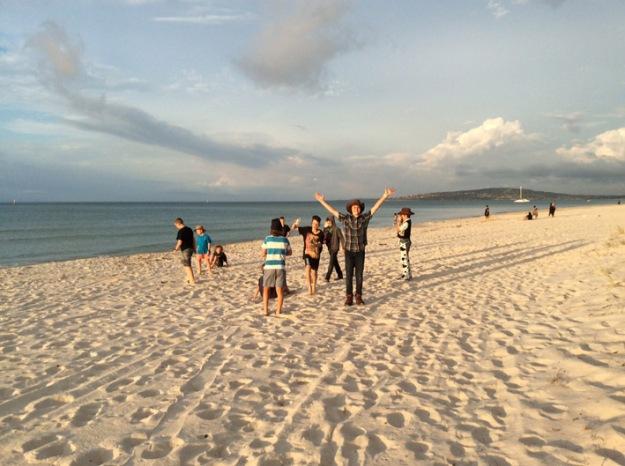cowboys on the beach at sunset.JPG