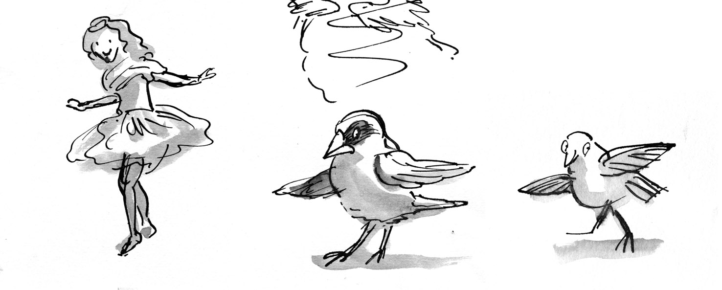 pen and ink person to bird lores